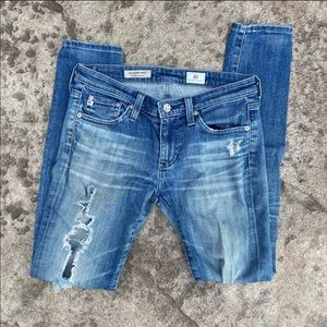 AG Distressed Super Skinny The Legging Ankle Jeans